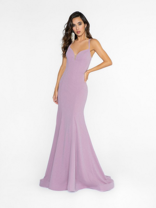 ValStefani 3725RA lavender mermaid dress with deep sweetheart neckline and illusion inset