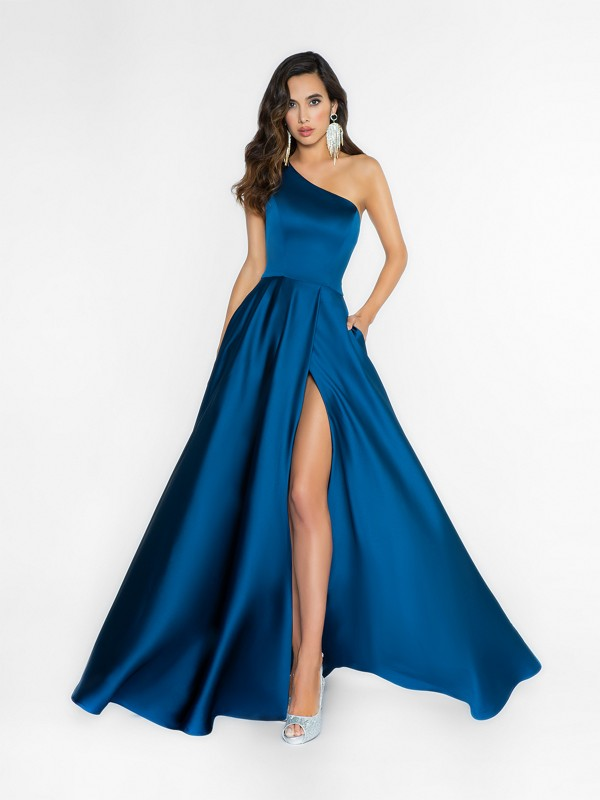 ValStefani 3726RA soft and fancy navy dress with one shoulder strap