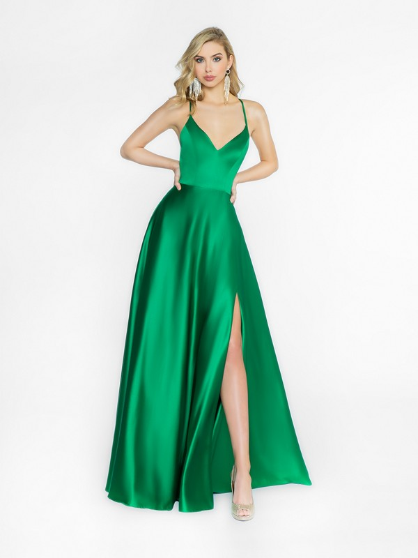 ValStefani 3727RA Green shiny a-line prom dress with wrap skirt