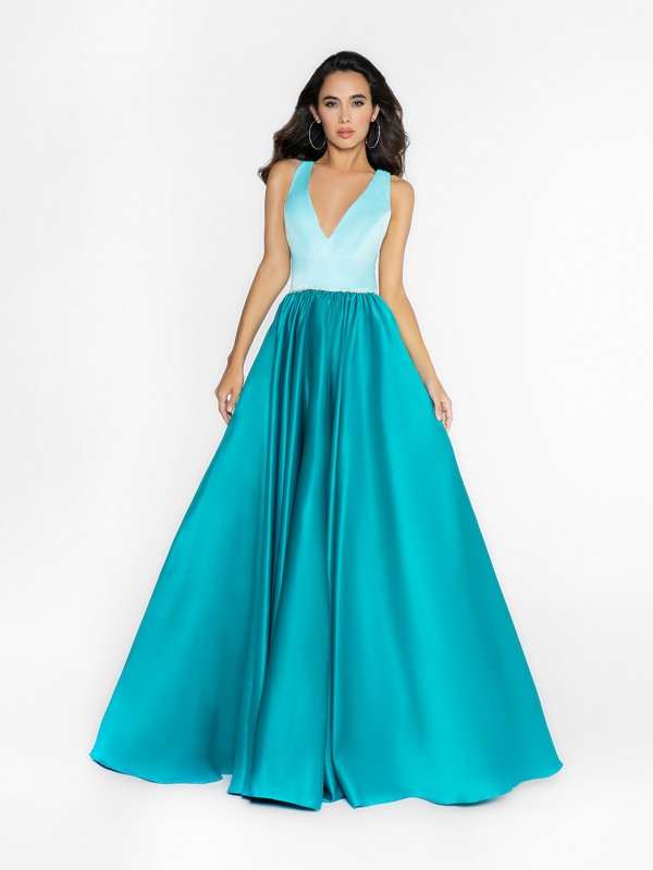 ValStefani 3728RA teal and mint ball gown dress with beaded band at waist