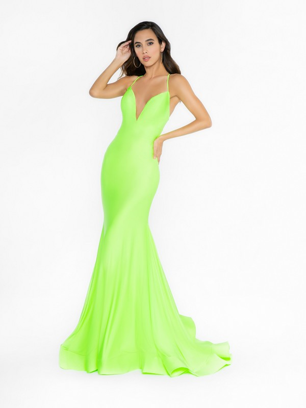 ValStefani 3729RA vibrant lime prom dress with deep sweetheart neckline