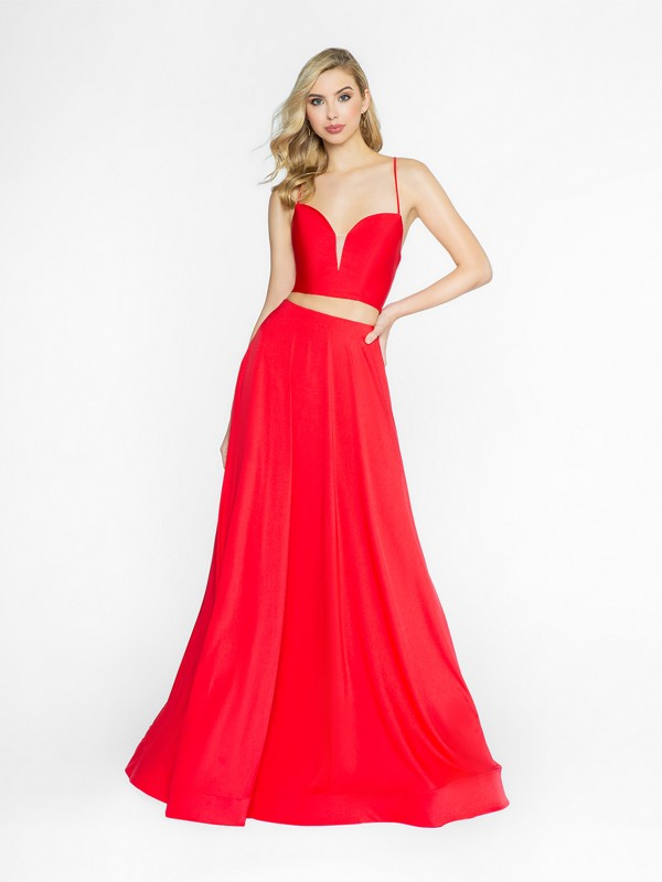 ValStefani 3731RA red prom dress with deep sweetheart neckline and illusion inset