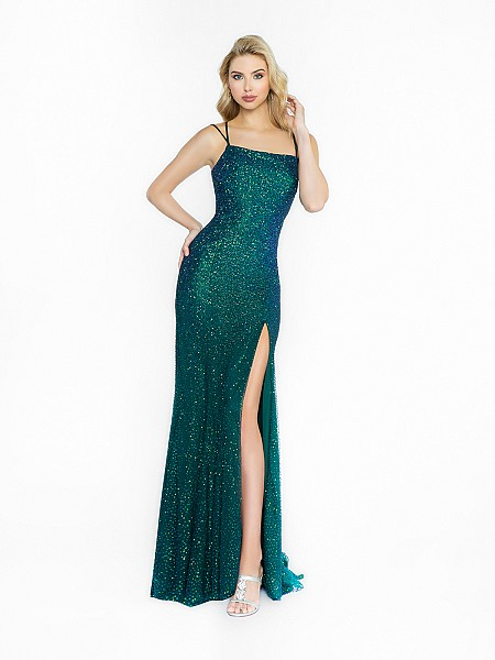 ValStefani 3732RA glittery emerald prom dress with scoop neck neckline