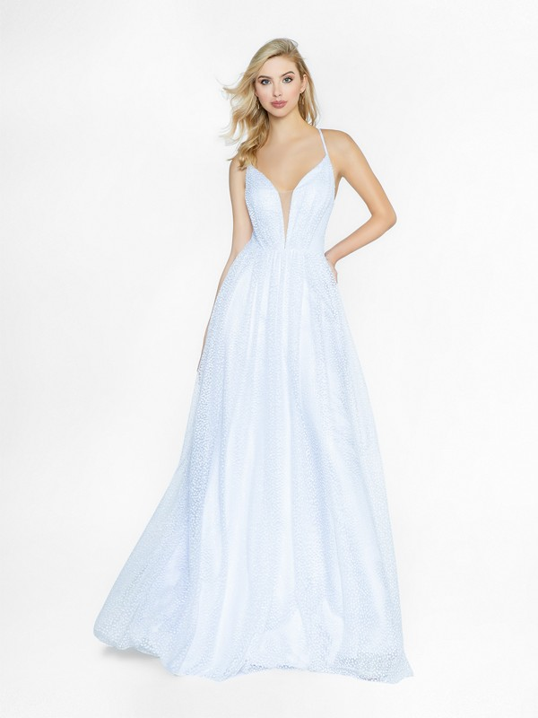 ValStefani 3733RA chic white dress with deep sweetheart neckline and illusion inset