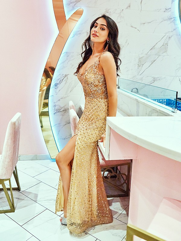 ValStefani 3734RC glittering gold dress with v-neck neckline and illusion inset