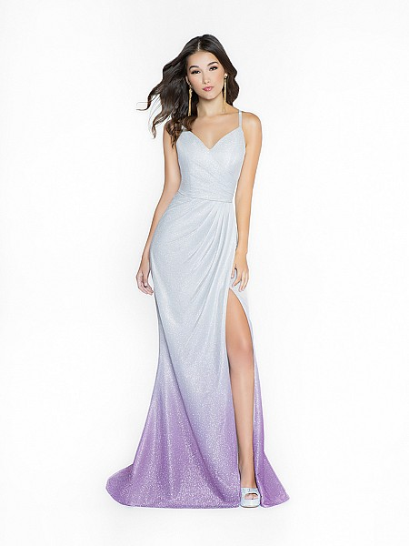 ValStefani 3736RD silver and purple dress with sheath wrap skirt and straps