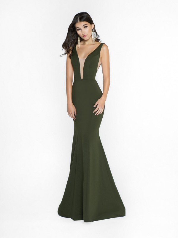 ValStefani 3737RW comfortable olive dress with deep sweetheart neckline and illusion inset