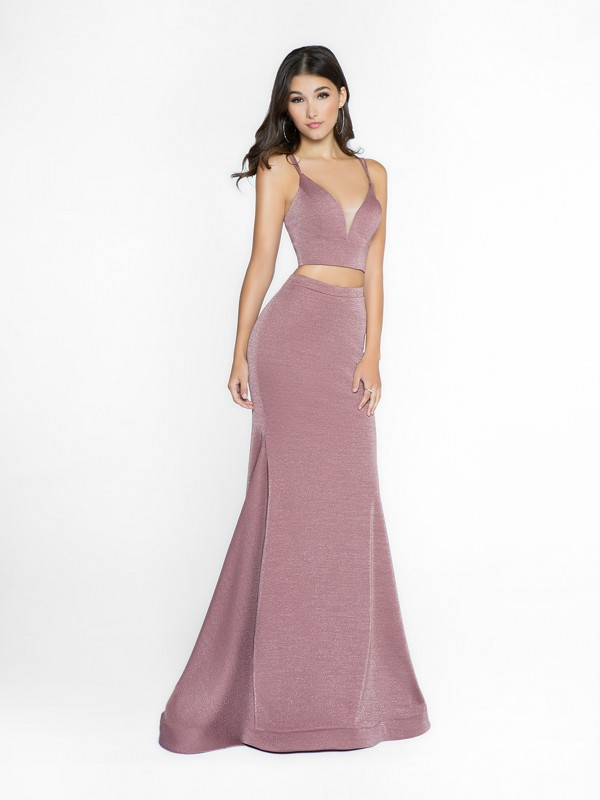 ValStefani 3738RA metallic two piece purple grey mermaid prom dress