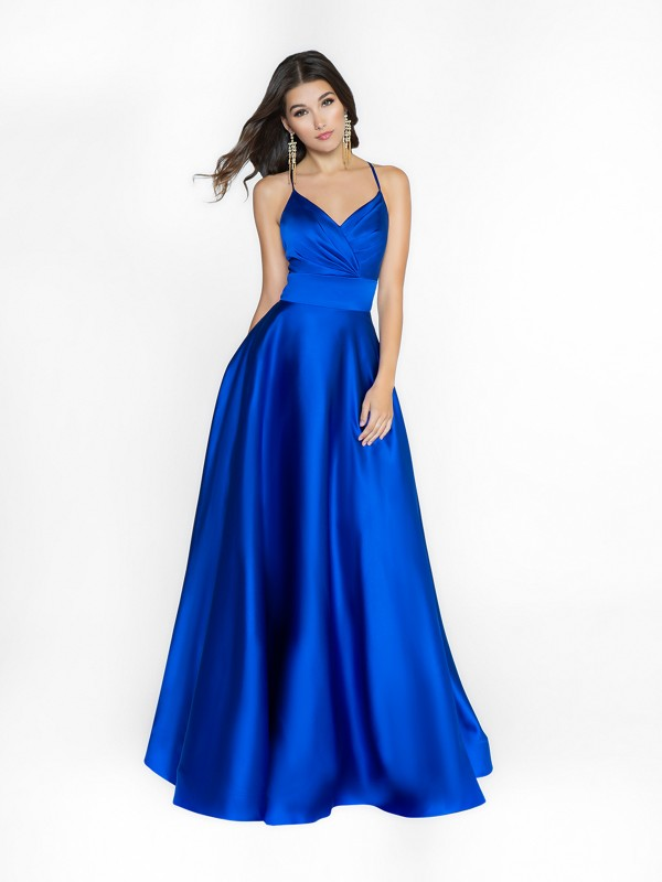 ValStefani 3739RA royal blue satin a-line prom dress with straps