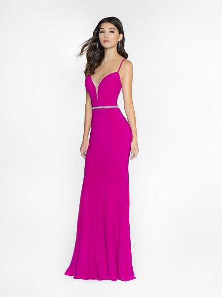 ValStefani 3740RW magenta mermaid dress with deep sweetheart neckline and illusion inset