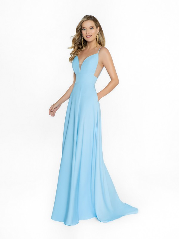 ValStefani 3741RW light blue a-line dress with wrap skirt and side pockets at skirt
