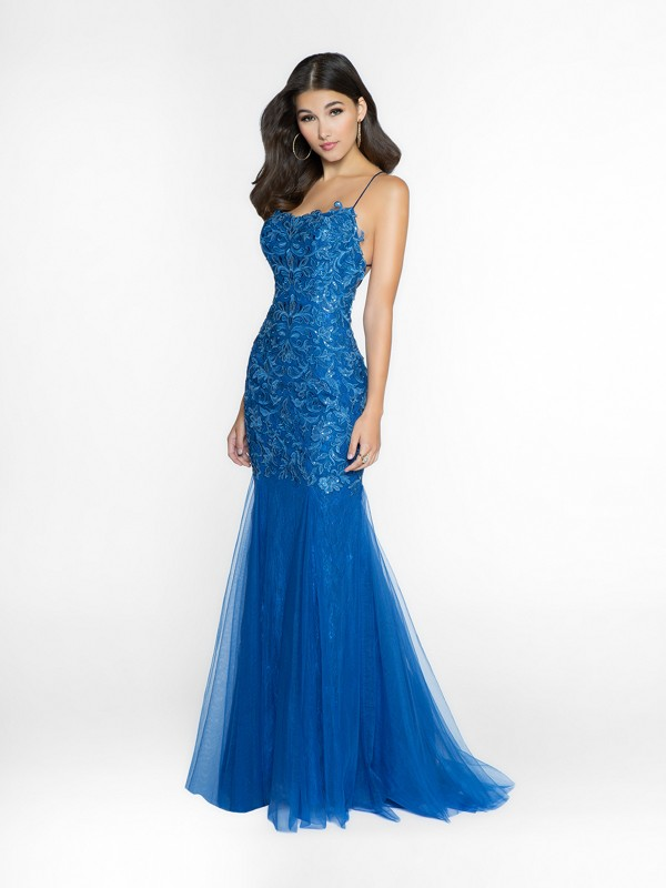 ValStefani 3742RI shiny and elegant night blue dress with scoop neck neckline