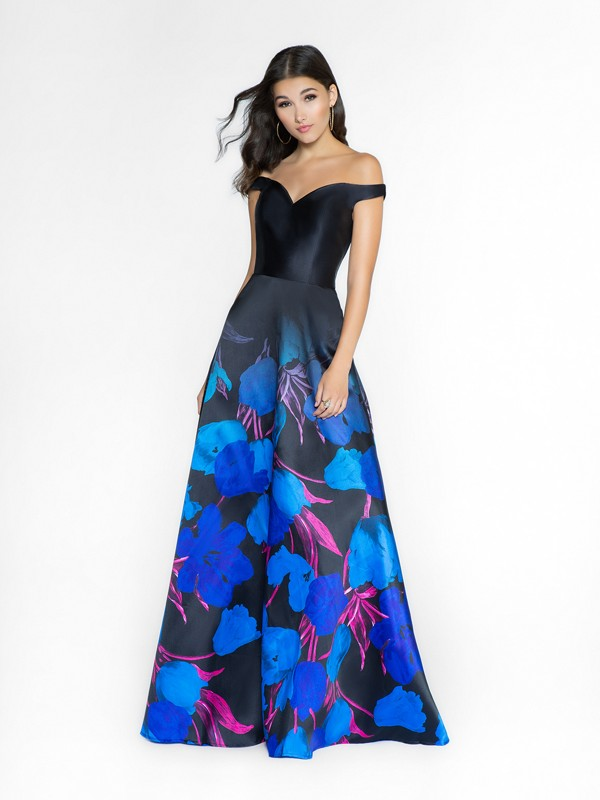 ValStefani 3743RK floral print satin off the shoulder dress with side pockets at skirt