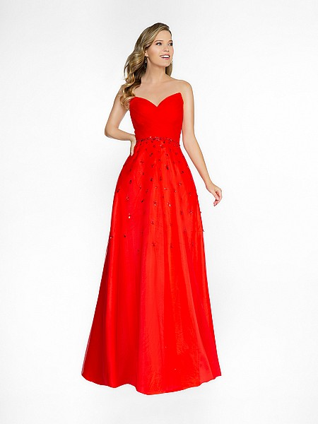 ValStefani 3746RG full a-line red dress with deep sweetheart neckline
