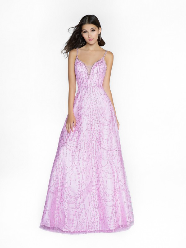 ValStefani 3747RY a-line pink dress with deep sweetheart neckline and illusion inset
