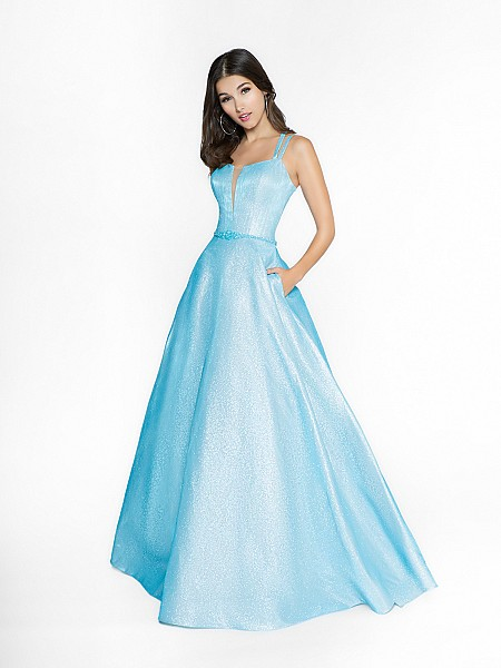 ValStefani 3748RC light blue ball gown with square neck neckline and illusion inset