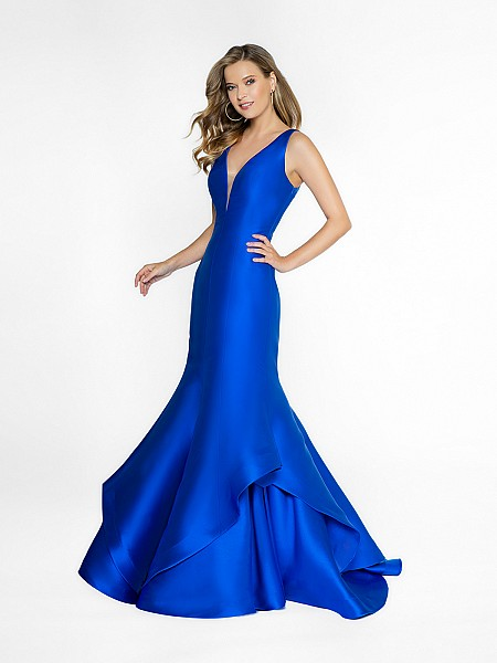 ValStefani 3749RC fancy royal blue dress with deep v-neck neckline and illusion inset