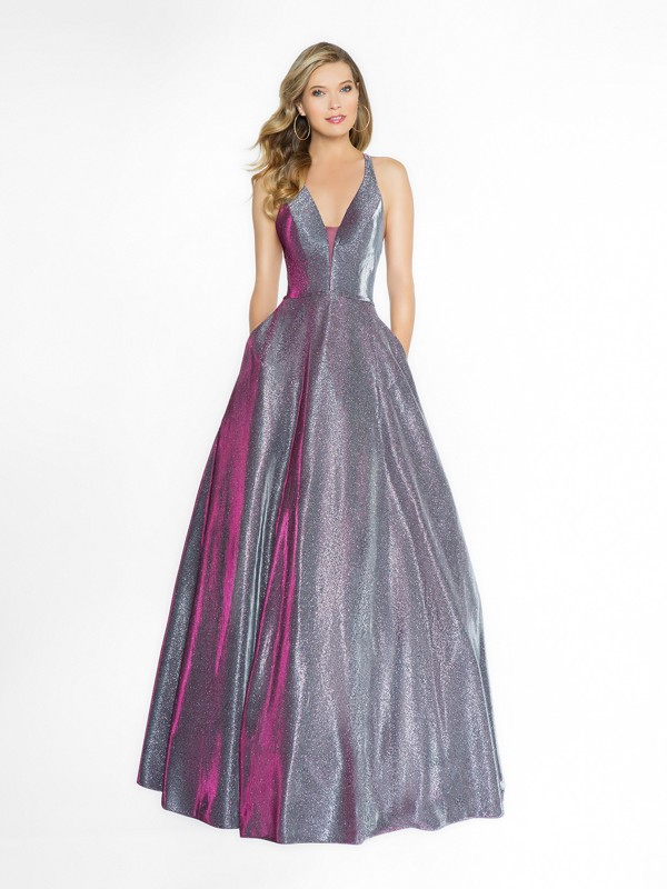 ValStefani 3750RB full a-line eggplant dress with deep v-neck neckline and illusion inset