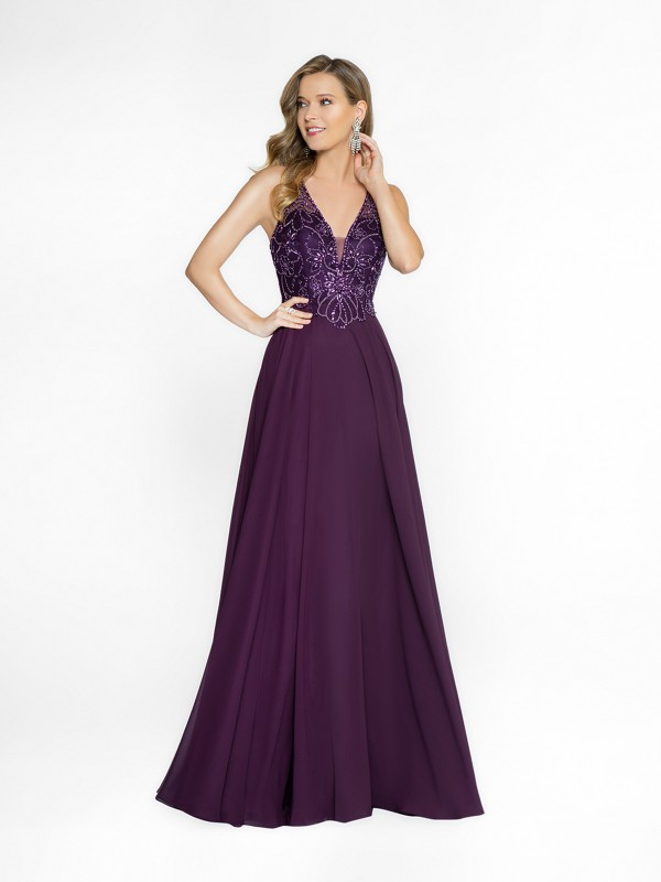 ValStefani 3752RG purple a-line dress with deep v-neck neckline and illusion inset