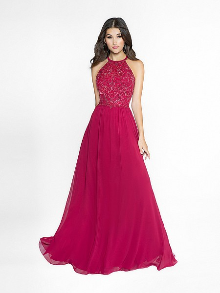 ValStefani 3753RE soft wine a-line dress with halter neck neckline