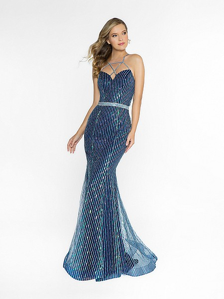 ValStefani 3754RE mermaid navy prom dress with sweetheart neckline available in plus sizes