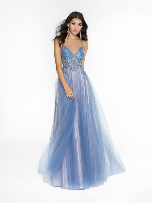 ValStefani 3755RG unlined steel blue and pink dress with sweetheart neckline and straps