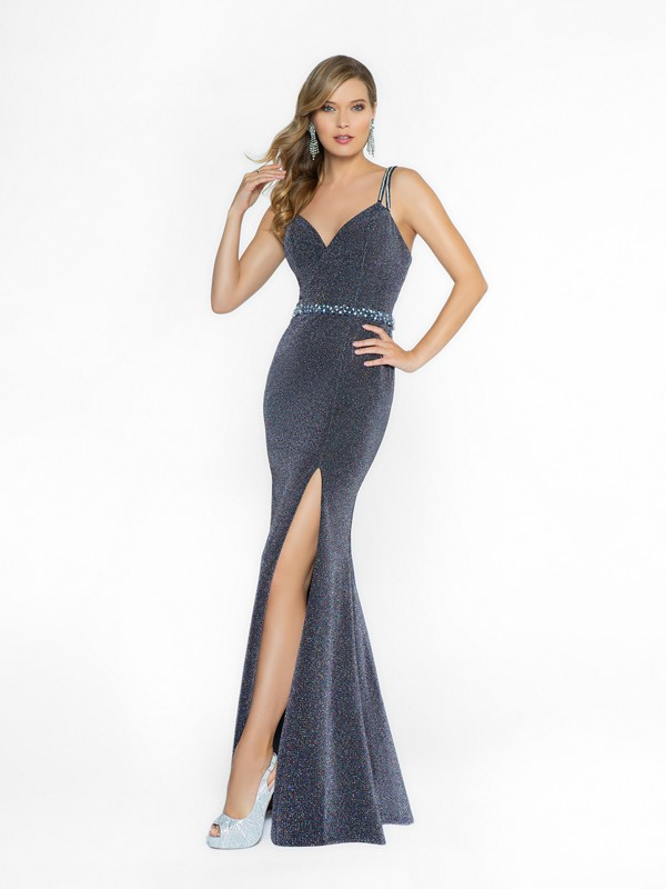 ValStefani 3756RE shiny and formal purple dress with surplice v-neck neckline