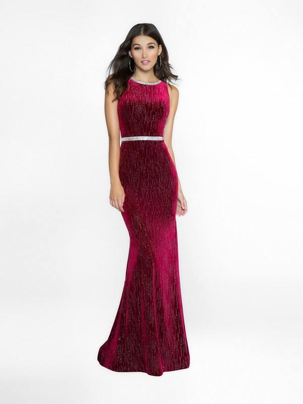 ValStefani 3757RE wine mermaid prom dress with bateau neck neckline