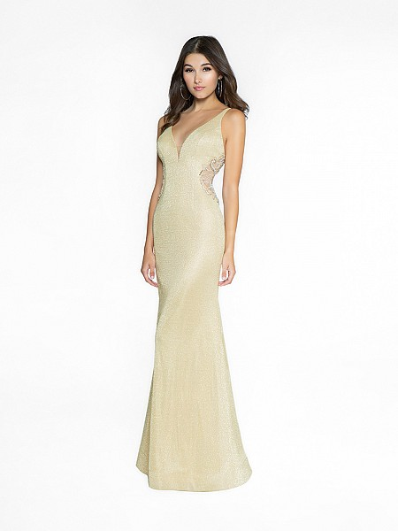 ValStefani 3758RC gold sheath dress with deep sweetheart neckline and illusion inset