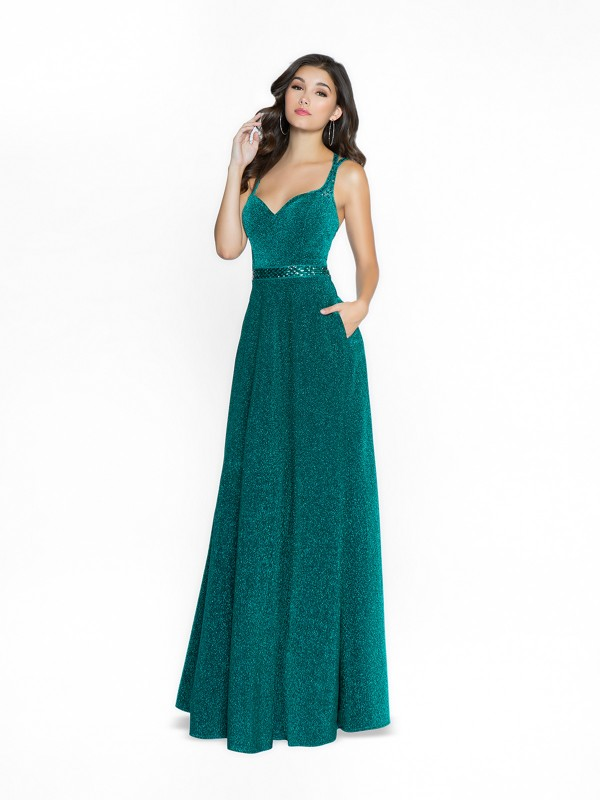 ValStefani 3761RD shimmering emerald prom dress with deep sweetheart neckline with straps