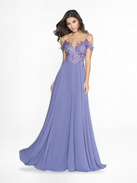 ValStefani 3764RW unlined lilac dress with sweetheart neckline and re-embroidered lace appliques