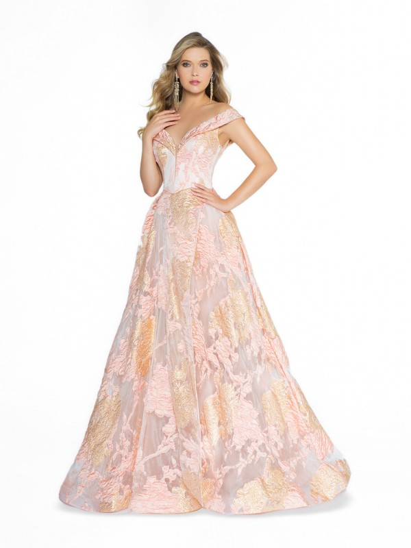 ValStefani 3765RG printed full a-line pink off the shoulder formal gown