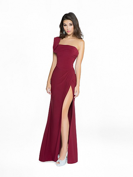 ValStefani 3769RW formal and comfortable wine dress with one shoulder strap