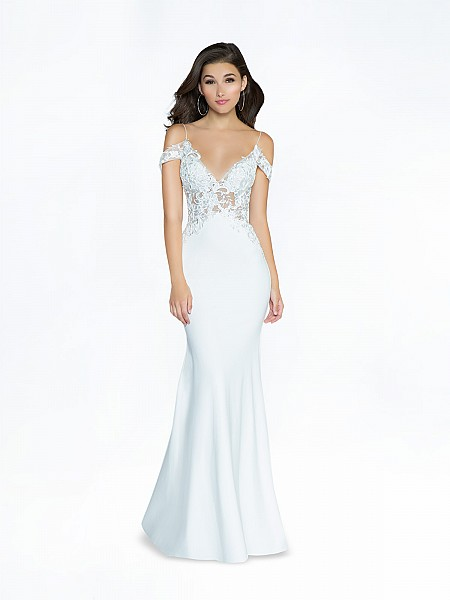 ValStefani 3772RW elegant unlined ivory formal dress with deep sweetheart neckline