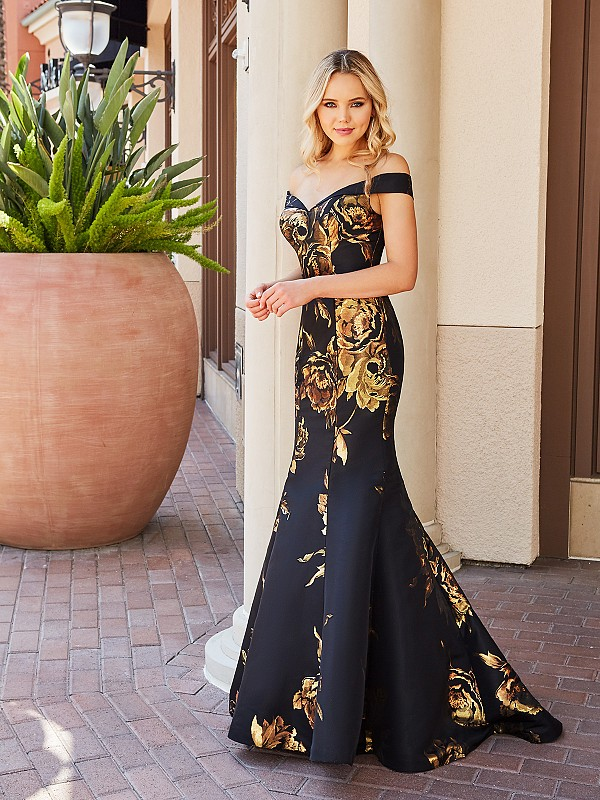 ValStefani 3774RB elegant black and gold dress with portrait neckline