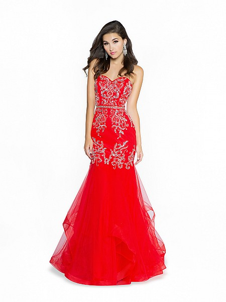 ValStefani 3775RI formal tulle red and silver prom dress with sweetheart neckline