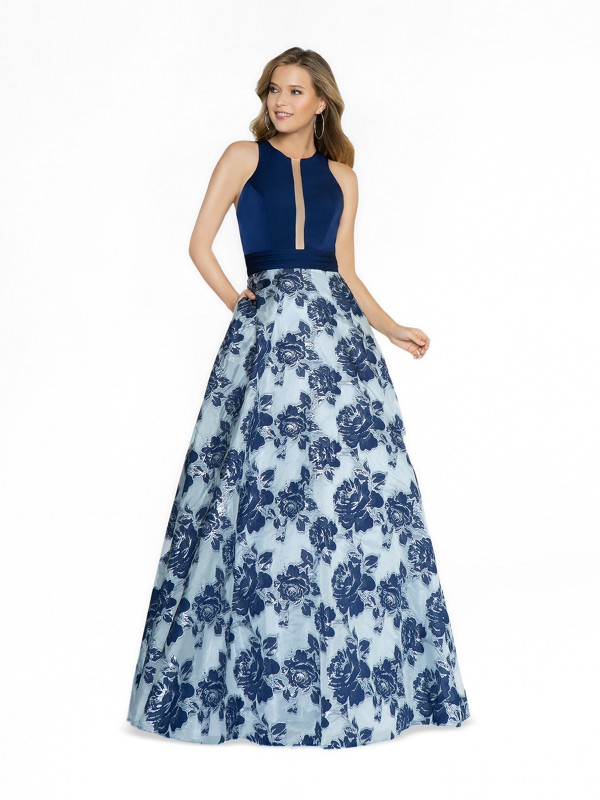 ValStefani 3776RD print and navy prom dress with jewel neckline and illusion inset