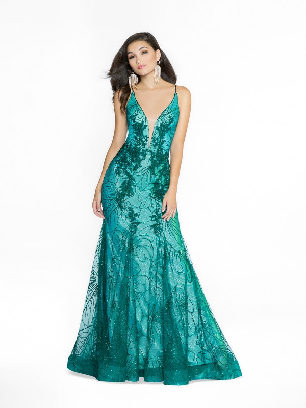 ValStefani 3779RC shiny green formal dress with deep sweetheart neckline and illusion inset