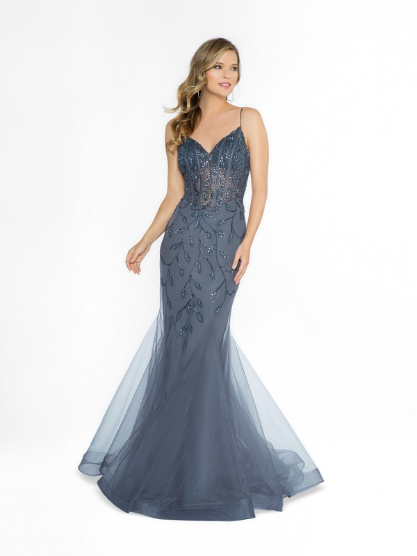 ValStefani 3783RG unlined charcoal prom dress with v-neck neckline and straps