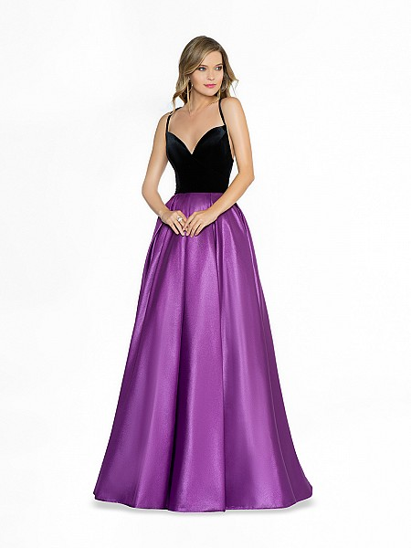 ValStefani 3785RW stylish purple and black dress with deep sweetheart neckline and straps