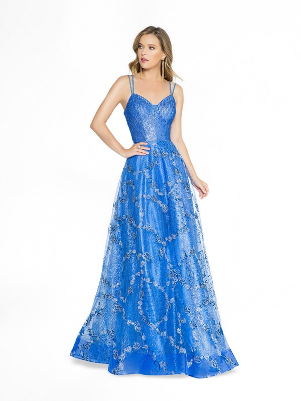 ValStefani 3786RD royal blue a-line dress with sweetheart neckline and straps