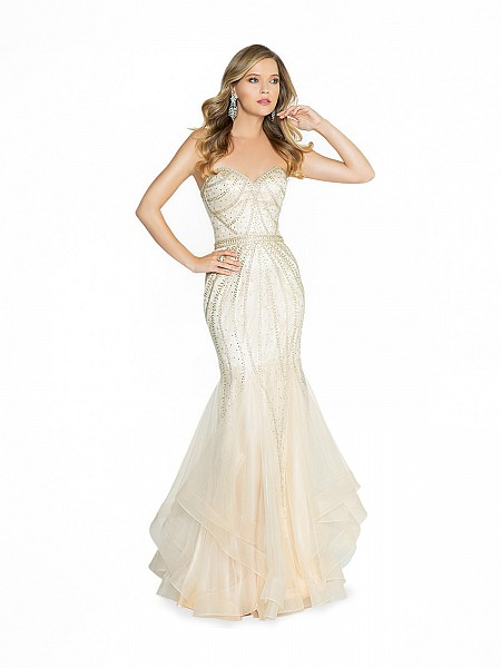 ValStefani 3787RI sparkling champagne mermaid prom dress with rhinestones and gems
