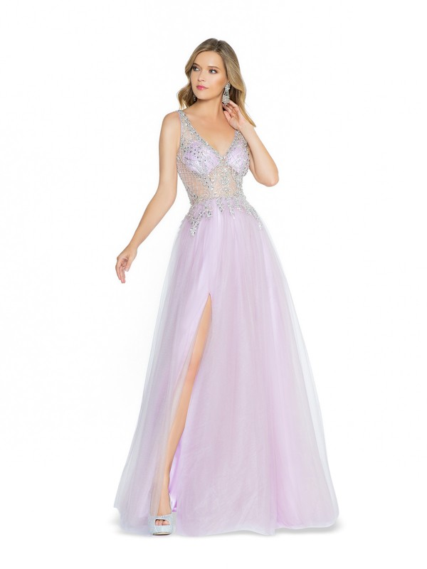 ValStefani 3789RB unlined lilac formal dress with v-neck neckline and slit
