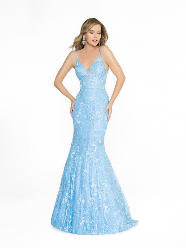 ValStefani 3790RB mermaid sky blue prom dress with deep sweetheart neckline and illusion inset