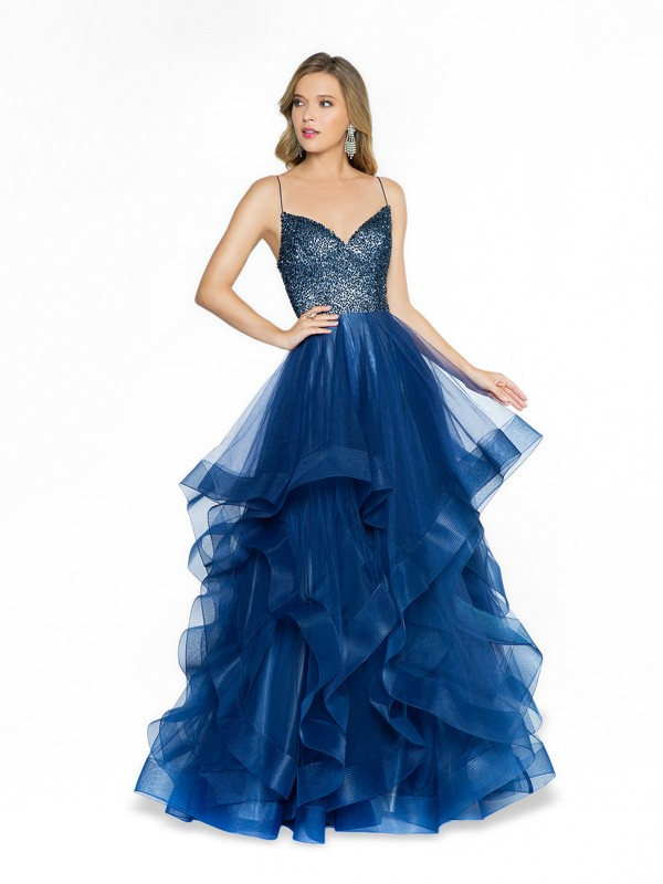 ValStefani 3791RB navy and nude a-line prom dress with sweetheart neckline and straps