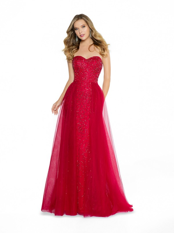 ValStefani 3794RB formal burgundy sheath prom dress with overlay