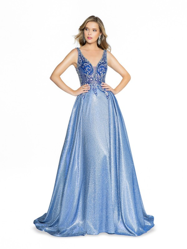 ValStefani 3796RB unlined cobalt formal dress with double slit and sequins