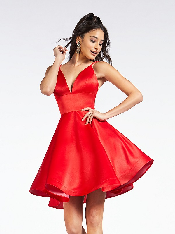 Simple satin short red A-line dress with deep sweetheart neck and thin straps