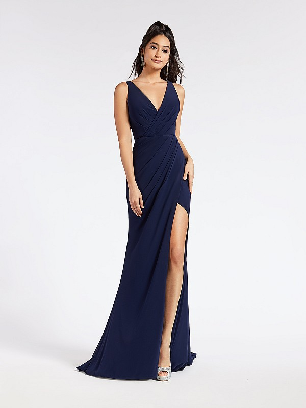 Long navy mermaid formal dress with classic V-neck neckline and leg slit