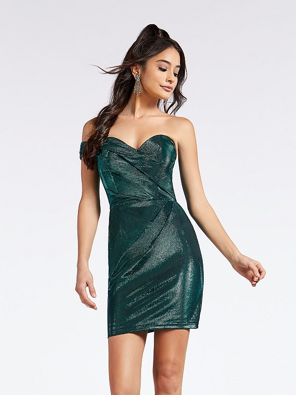 Sparkle satin emerald thigh length dress with one shoulder and sweetheart neckline
